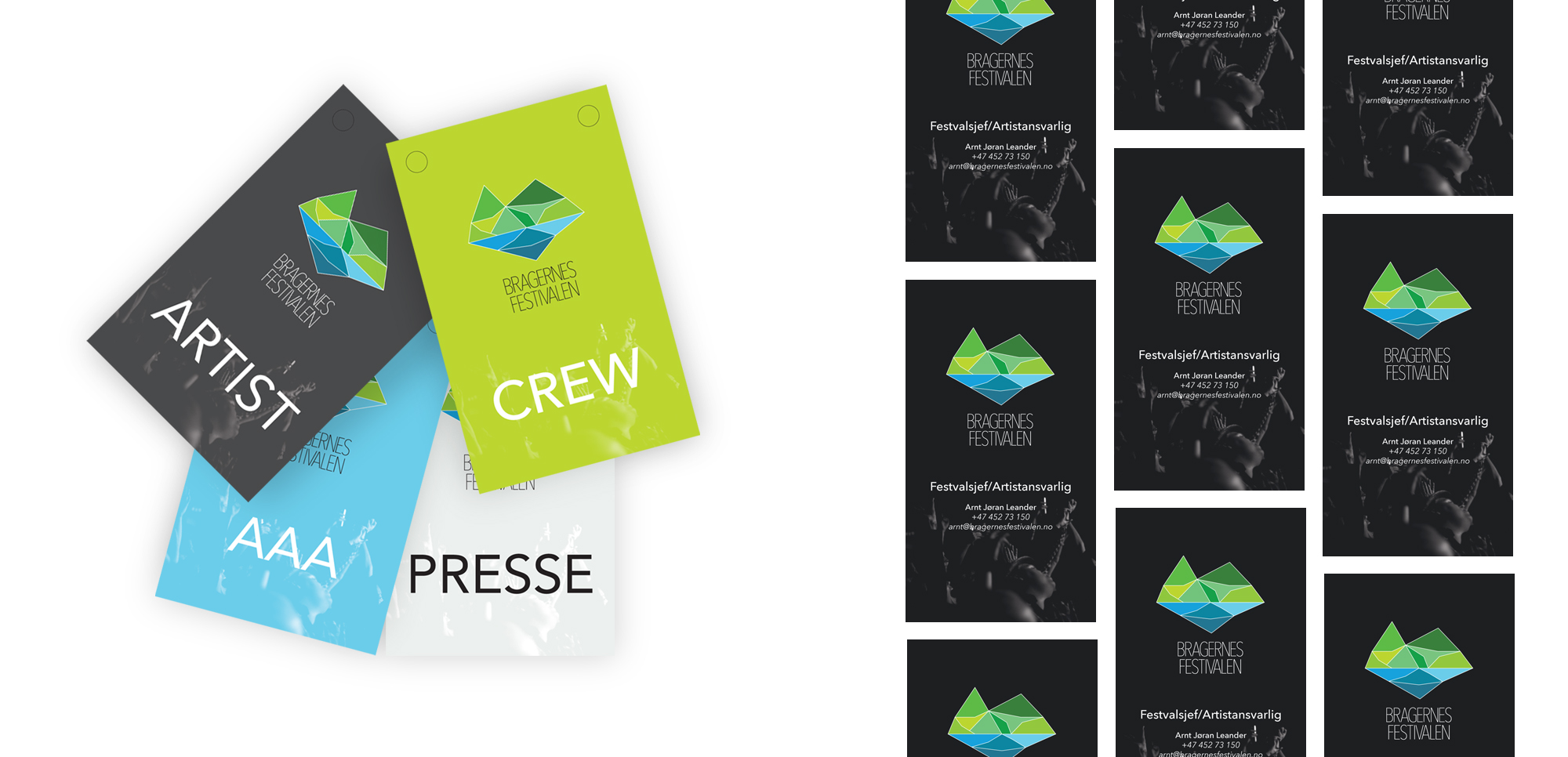 Design av diverse pass for Bragernesfestivalen