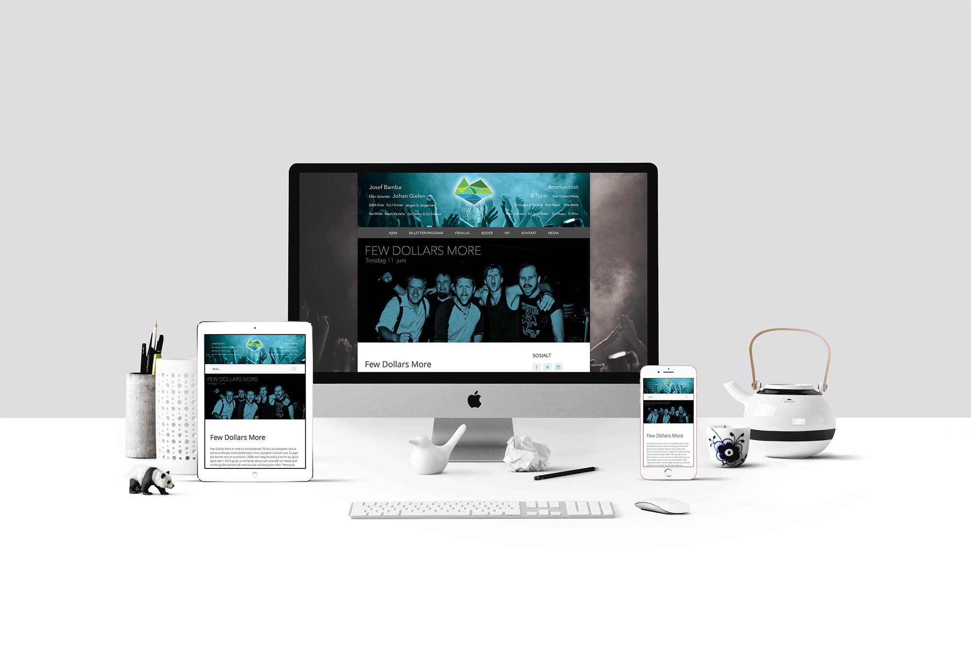 Design av responsiv nettside for Bragernesfestivalen tilpasset mobil og nettbrett