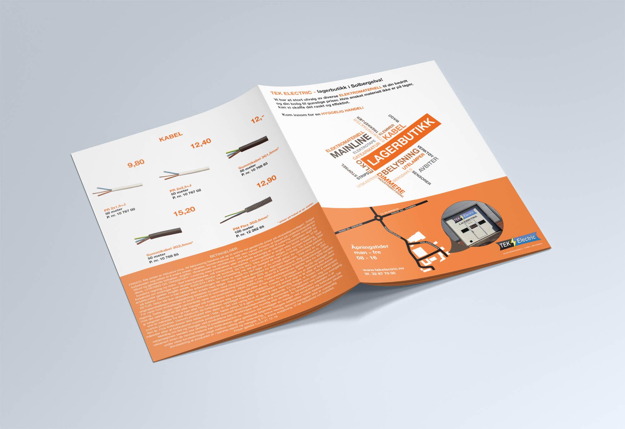 Forside og bakside av produktbrosjyre for TEK Electric