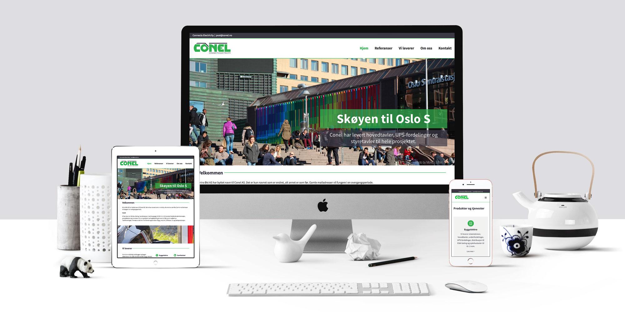 Design av bedriftsidentitet og utvikling av ny nettside for Conel
