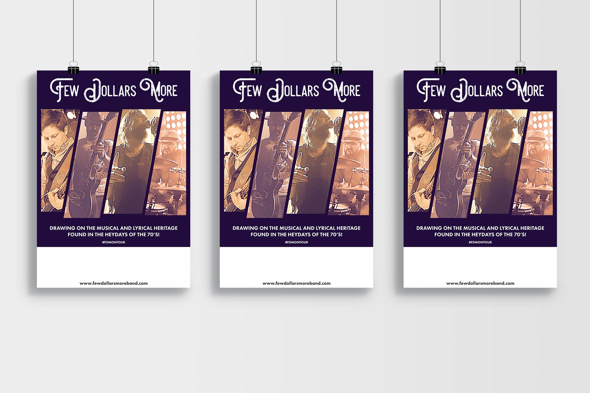Design av konsertplakat for bandet Few Dollars More