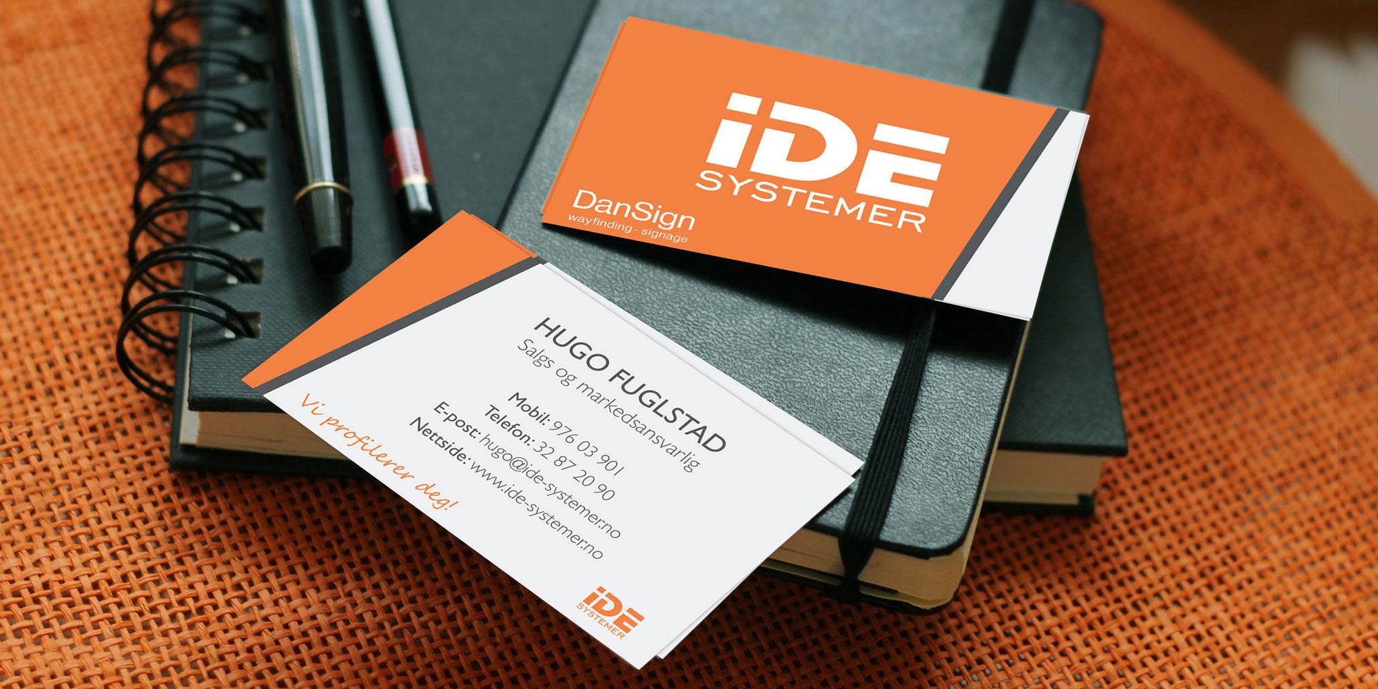 Design av nye visittkort for IDE Systemer