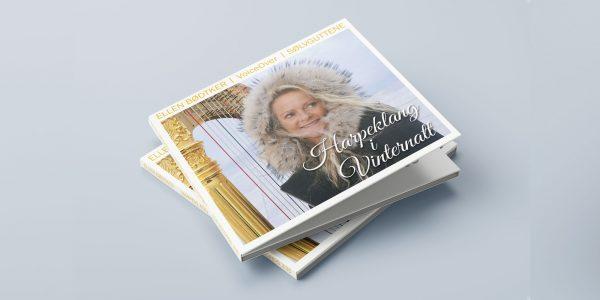 """Design av cover art og identitet. Ellen Bødtker """"Harpeklang i Vinternatt"""""""
