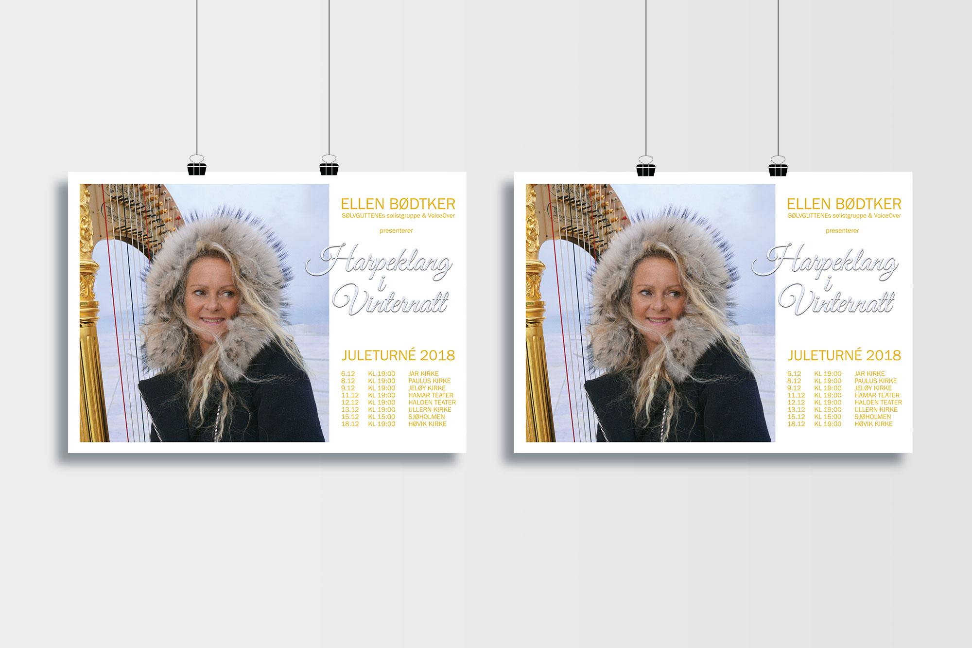 Design av konsertplakat for Ellen Bødtker
