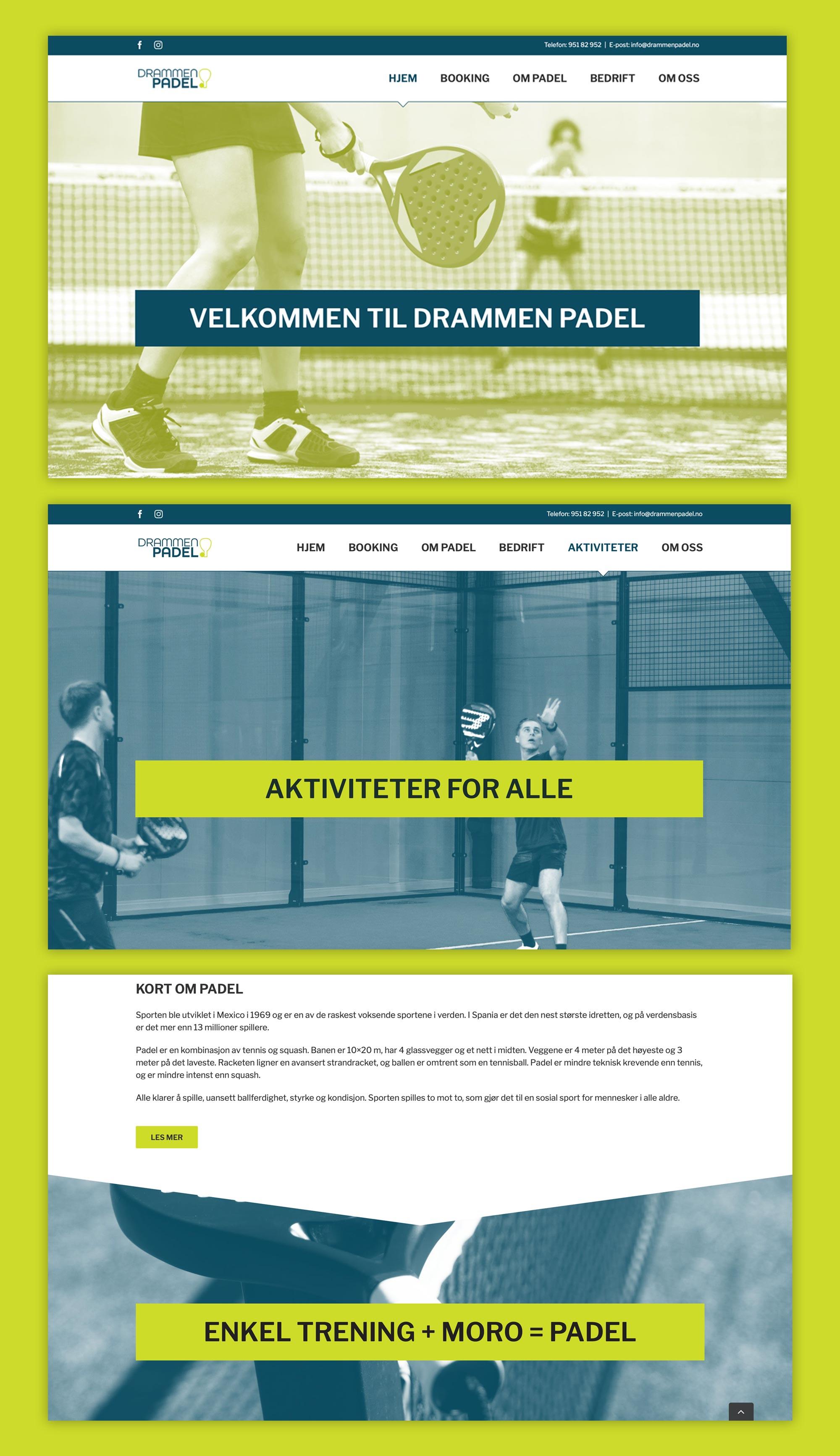 Nettside layout Drammen Padel