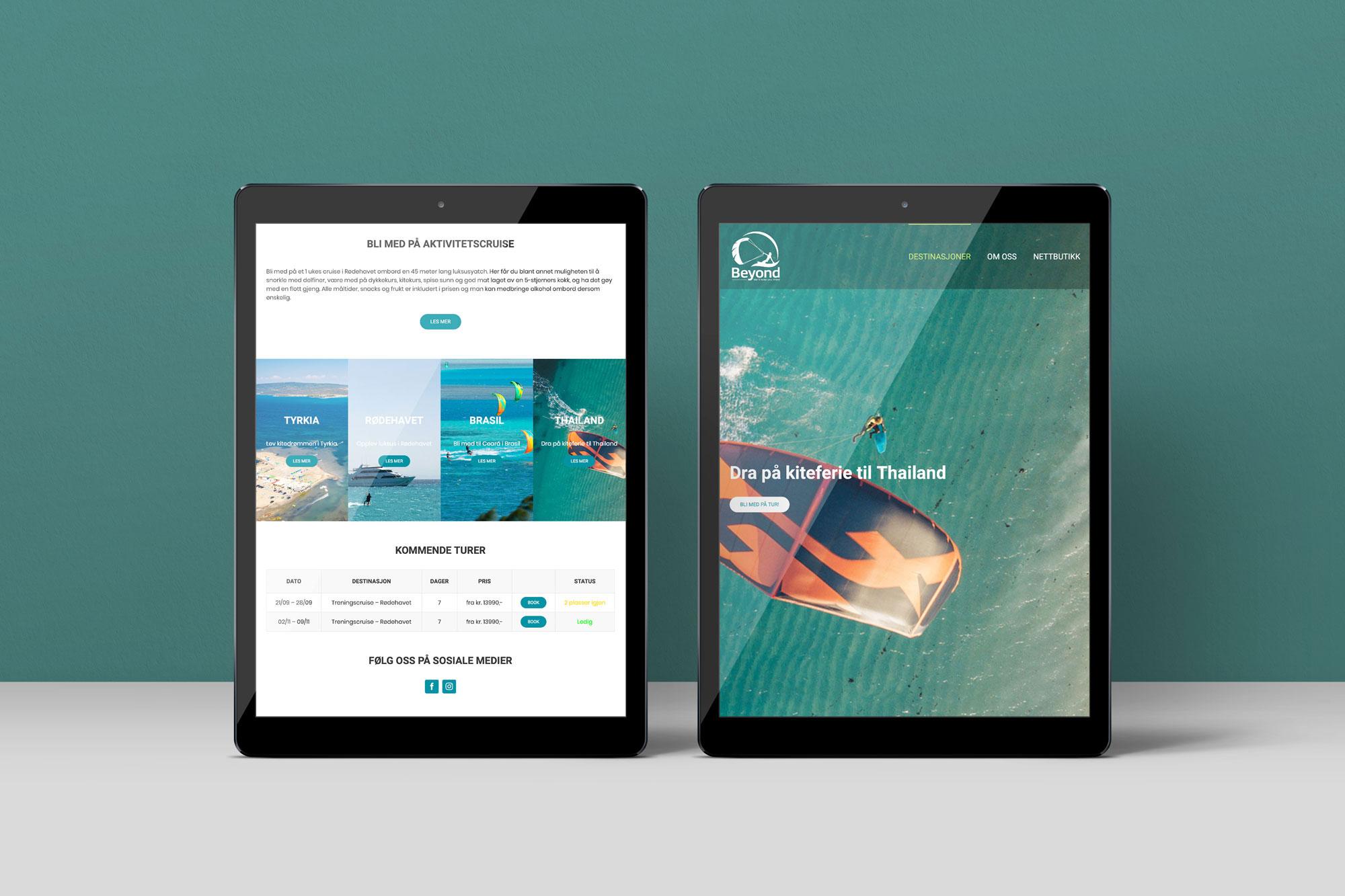 Beyond nettside på tablet